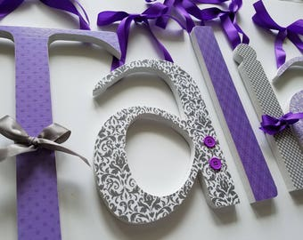 Wood Letters, Purple and Grey, Girl Nursery, Custom Wooden Letter Decor, Damask, Polka Dots, Baby Shower Gift, Baby Name Signs, Lavender