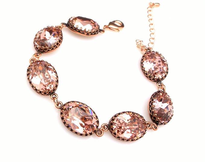 swarovski blush vintage rose fancy oval crystal rhinestone bracelet bridesmaid gift bridal wedding jewelry antique copper rose gold setting