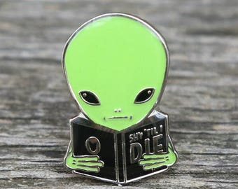 Shy Guy Alien enamel lapel pin by Crywolf // bookworm extraterrestrial // lapel hat collar pin // handmade in Canada