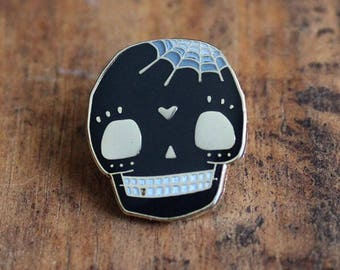 Black sugar skull enamel pin by Crywolf // day of the dead // lapel hat collar pin // handmade in Canada