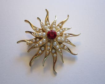 vintage sunburst brooch - gold tone metal with faux pearls and red rhinestone