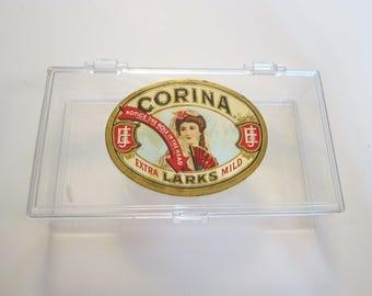 vintage cigar box - clear plastic with CORINA Larks label - studio storage