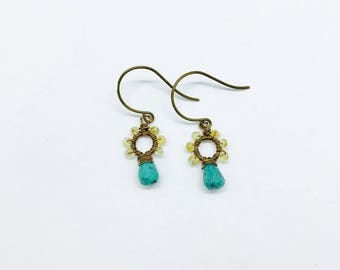 Petite Stone Circle with genuine Citrine and Turquoise