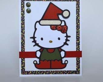 Hello Kitty Santa - Christmas Card - Handmade