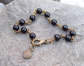 Black Onyx gemstone beaded chain bracelet with petite round charm, Hippie Bohemian jewelry