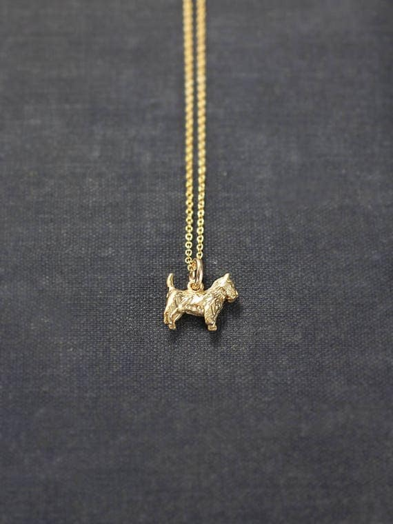 Small 9ct Gold Scottie Dog Charm Necklace, Solid 9 Karat Gold Hallmarked Pendant - Scottish Terrier