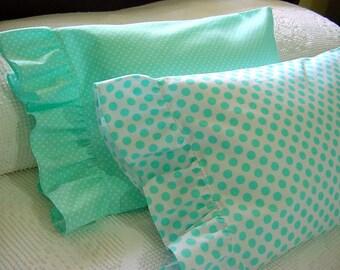 Ruffled Li'L Pillowcase for 12x16 Travel Toddler Boudoir Lumbar Pillow - Robin Egg Blue, Aqua, White -Polka Dots Cover