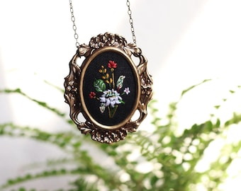 Poppy and foliage- hand embroidered necklace, floral, bouquet, black, aqua, purple