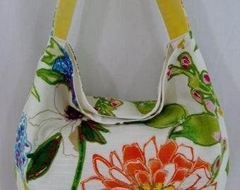 Extra Large Shoulder Purse, Large Slouchy BAG, Slouch Purse, Hobo, Work Purse, Diaper BAG, Shopping Bag, Large Floral Print, Orange Green