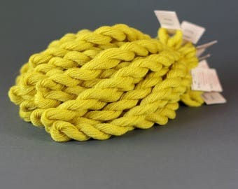 Hand-dyed embroidery yarn, natural dyes, merino wool thread, embroidery floss, 20m, dyed with BIRCH LEAVES, bright yellow color, 302