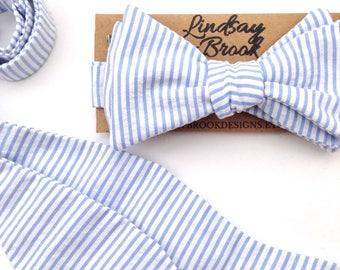 Blue seersucker tie, Seersucker Bow tie, blue striped tie, Blue bow ties, Mens bow ties, Bowties for men, Freestyle bow ties, groomsmen ties