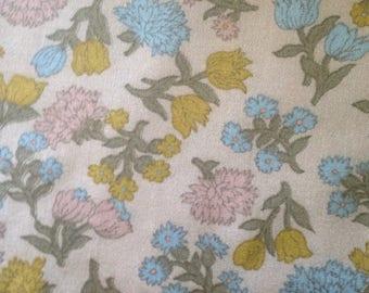 Vintage Floral fabric Pastels Mums Chrysanthemums