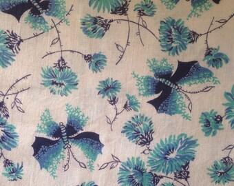 Vintage Cotton Butterfly Fabric Butterflies Flowers Blue Aqua