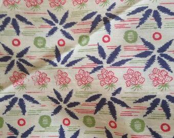 Vintage Printed Silk Broadcloth Leaves Berries