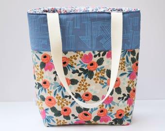 rifle paper co tote bag, market tote, market bag, large tote bag, teacher tote bag, casual tote, floral tote bag, shoulder bag, linen tote