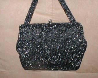 Vintage Irredescent Black Beaded Evening Bag by CHARBET