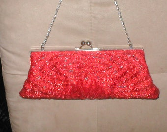 Vintage Red Beaded Evening Bag Purse