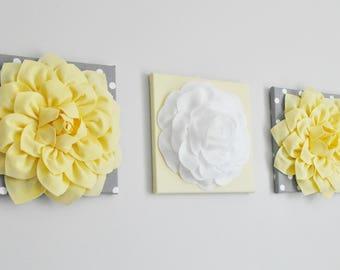 Flower Garden Collage, Light Yellow and Gray Polka Dot Wall Decor, Yellow Wall Art, Nursery Art, Bathroom Art, Housewarming Gift, Wedding