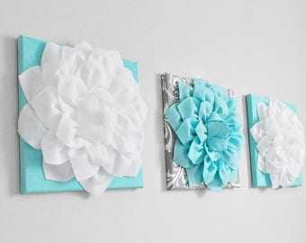 Aqua Blue, Turquoise Flower Art Prints. Gray Damask Aqua and White Flowers. Nursery Wall Art. Summer Print. Turquoise Aqua Floral Wall Set