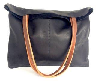 summer sale Black and brown Leather Tote Bag - Simple Black Leather Bag - soft black Leather Laptop Bag
