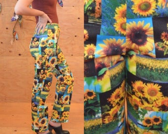 vintage 90's sunflower digital print pants trousers waist 28 PARTY PANTS made in NYC