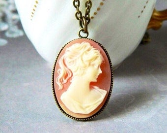 Carnelian Woman Cameo Pendant Lady Cameo Necklace Mother's Gift Cameo Necklace Victorian Cameo Girl Cameo Silhouette Antique Brass
