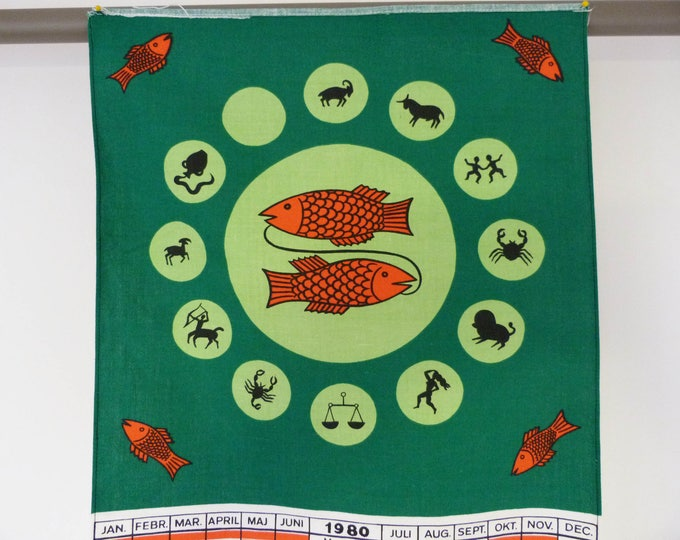 Vintage 1980 Danish Zodiac calendar