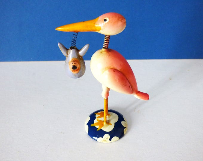 Goula spain whimsical vintage stork and baby figure 1960's