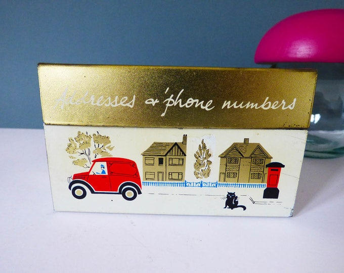 Addresses and phone number tin Mid century Vintage