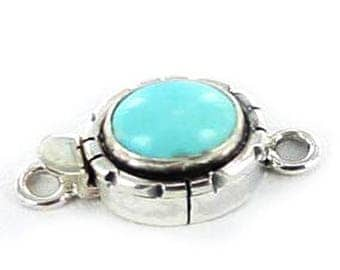 Summer Sale : ) Armenian Turquoise Sterling Silver Clasp Oval 9x10.5mm New World Gems