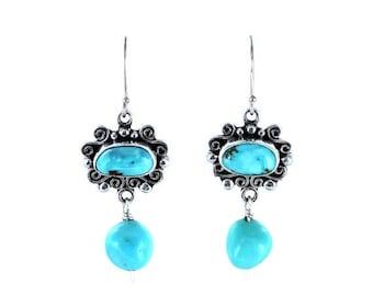 Kingman Turquoise Scroll Earrings Sterling