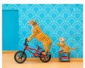 FALL SALE Tiger animal art print with BMX: Tiger Mom
