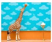 FALL SALE Giraffe art print with baskeyball: Standing Tall