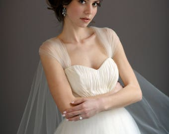 Off White Shoulder Veil A Line Wedding Dress with Rhinestone Back Detailing