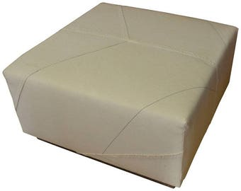 Ottoman Upholstered in World War II British Cargo Parachute on Barn Board Base