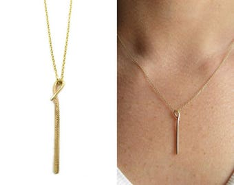 Golden Stem Necklace | solid gold necklace | eco friendly gold necklace | solid yellow gold | rose gold necklace | gold bar necklace