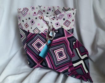 Reversible Standup Drawstring Bag Project Bag Set for knitters crocheters spinners felters Purple Geometric