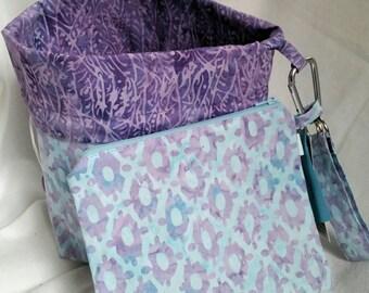 Reversible Standup Drawstring Bag Project Bag Set for knitters crocheters spinners felters Halloween blue/ purple diamond batik
