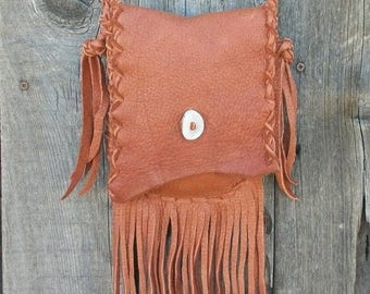 ON SALE Fringed leather purse ,  Handmade leather handbag , Small shoulder bag , Soft leather bag