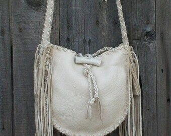 ON SALE Crossbody leather handbag ,  Designer handbag ,  Fringed leather boho bag Possibles bag