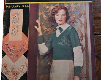Stitchcraft magazine January 1934 with 6 knitting patterns blouses, hats, vest and knickers