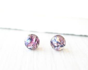 Tiny Post Earrings, Gold, Purple, Minimalist Jewelry, Small Studs, Nickel Free Titanium, Navy Blue, Indigo, Pink, Dainty, Petite, Foil Glass