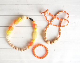 MYSTERY GRAB BAG - Three Items - Silicone Teething Necklace - Baltic Amber Teething Necklace - Baby Amber Necklace - Baby Teething Toys