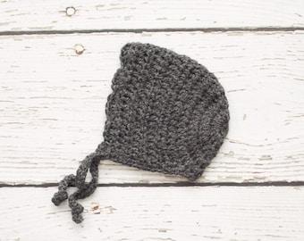 Crochet Baby Girl Bonnet in Charcoal - 0 to 3 Months (Skyla)