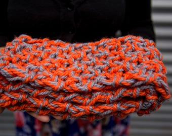Orange and Grey Children's Chunky Scarf with fringe, Ready to ship