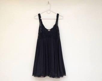 SALE Vintage 1980s Black Lace and Nylon Plus Size Babydoll Lingerie Dress