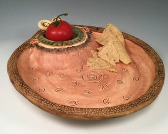 Chip and dip set/chip and dip/pottery bowl/bowl/handmade pottery/earth colors/wedding gift/bridal shower gift