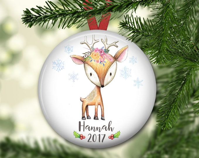 personalized Christmas ornaments for baby - baby's first christmas ornament - baby reindeer christmas decorations - ORN-PERS-2F