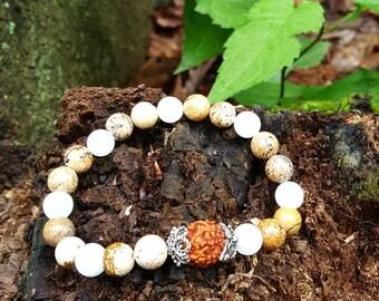 Rudraksha Stretch Energy Bracelet Yoga Mala Beads Wrist Picture Jasper Quartz