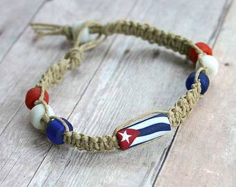 Surfer Hemp Bracelet With Cuba Flag Flat Knot Caribbean Vacation Bracelets